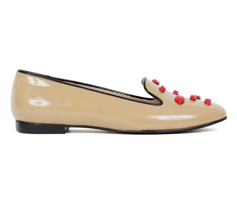 MARKUS LUPFER ML090 CAMEL PATENT LEATHER RED LIPS