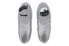 CHIARA FERRAGNI SLIP ON EYE GLITTER SILVER фото 1